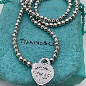 """Tiffany & Co.925 Return Heart Necklace 17.5"""""""